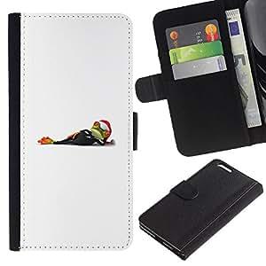 KLONGSHOP // Tirón de la caja Cartera de cuero con ranuras para tarjetas - Blanco minimalista Invierno Navidad Vacaciones - Apple Iphone 6 PLUS 5.5 //