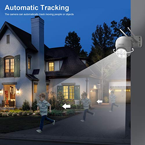3MP HD Outdoor Wireless Security Camera,Beuui H.265+ Pan Tilt Zoom Pan Tilt Zoom (4X Digital) WiFi Home Surveillance IP Camera, 2-Way Audio Waterproof Dome AI Human Detection Night Vision