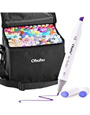 Alcohol Art Markers Set, Ohuhu Dual Tips (Fine & Chisel) Coloring Marker Pens for Kids, Alcohol-based Drawing Markers for Sketch Adult Coloring, Unique Colors + 1 Colorless Blender