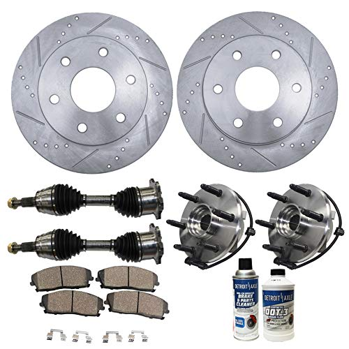 Detroit Axle - 10PC Front CV Axle Shafts, Wheel Hub Bearings, Drilled Slotted Disc Brake Rotors and Ceramic Pads for Chevy GMC Escalade Avalanche Suburban Tahoe Yukon Sierra Silverado 1500 4x4 -