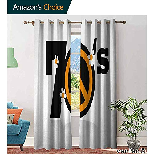 Big datastore home 70s Party Blackout Curtains,Peace Symbol of Seventies with Daisies Rock n Roll Psychedelic Print Living Room Dining Room, W108 x L72 -