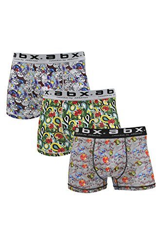 ABX Boxer Briefs Men (3-Pack) Fun Colorful Shorts, Novelty Graphics