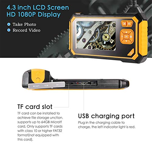 INDUSTRIAL ENDOSCOPE,ROTEK 4.3INCH 1080P HD LCD SCREEN DUAL LENS BORESCOPE,RECHARGEABLE BATTERY IP67 WATERPROOF INSPECTION CAMERA WITH 8 LED LIGHTS DIGITAL VIDEO RECORDING HANDHELD ENDOSCOPE(16.4FT)