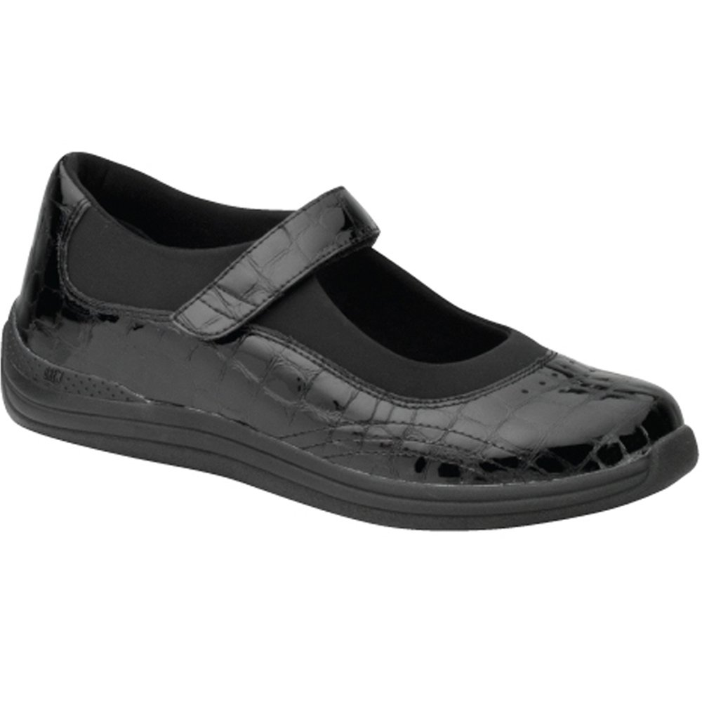 Drew Shoes Rose Women's Therapeutic Diabetic Extra Depth Shoe: Black/Croc Leather 11.0 Medium (B) Velcro by Drew Shoe
