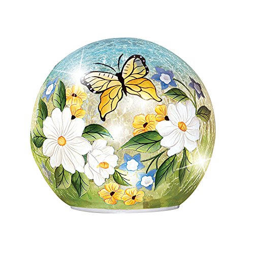 Collections Crackle Glass Magnolia Butterfly Décor Ball Globe Accent Light, Large from Collections