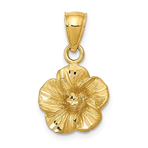 - 14k Yellow Gold Hibiscus Pendant Charm Necklace Flower Gardening Fine Jewelry Gifts For Women For Her