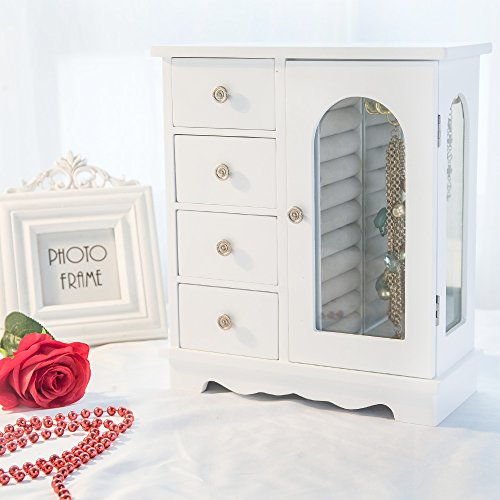 INART Wooden Jewelry Box Makeup and Accessories Organizer Girls Ring Storage with 4 Drawers and Swing Door, White Finish by INART (Image #2)
