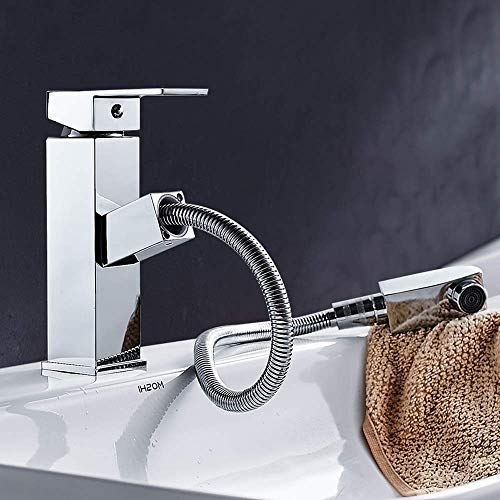 SXYULQQZ Pull The Faucet All The Copper Above Counter Basin Single Single Hole Hot and Cold Water Faucet Basin Washbasin Mixer Fine Copper Casting Let Your Faucet Move