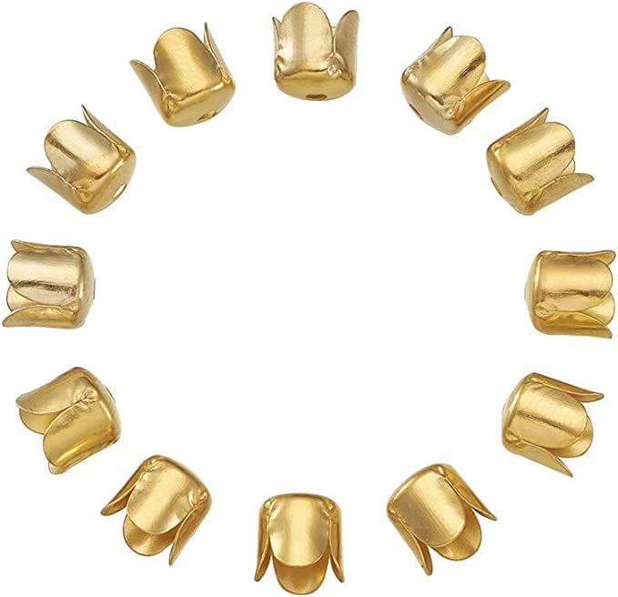 CHGCRAFT 10pcs Unfading Alloy Bead Cones Metal Bead End Caps Flower Spacer Bead for DIY Tassels Jewelry Making Antique Golden