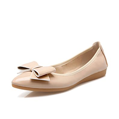 7cdcd802f3a Femme Chaussures Plates Mode Ballerines Pointu Chaussure Bateau Chaussure  Nœud Vernis Résistante Beige 34