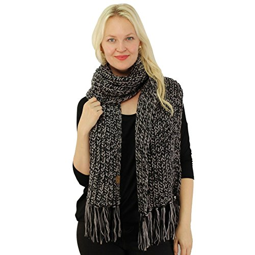 CC 2tone Mix Knit Soft Super Chunky Thick Long Big Large Cowl Fringe Scarf (Knit Fringe Scarf)