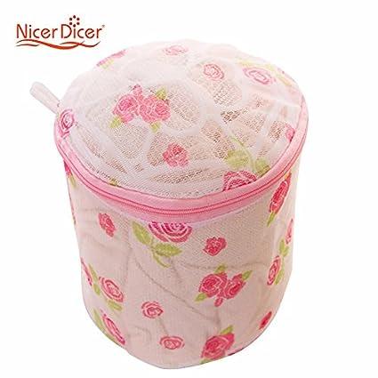 Generic 1pieza plegable lavandería lavado sujetador ropa interior lencería de malla rosa patrón bolsas de ropa