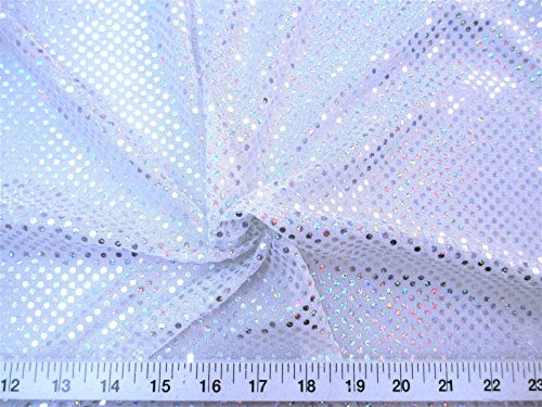 Paylessfabric Fabric Stretch Glitter Mesh Sequin Dots White Silver Sheer Sparkle L46