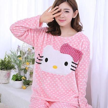 MH-RITA 2017 moda invierno cálido terciopelo grueso Coral dulce Mujer Pijama Cartoon Otoño e