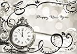 pocket watch with sparkling black and white swirls designer greetings box of 18 new year