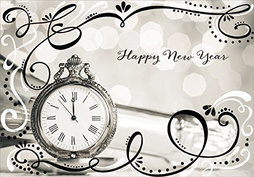 Pocket Watch with Sparkling Black and White Swirls - Designer Greetings Box of 18 New Year Cards