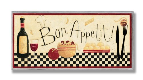 Stupell Home Décor Bon Appetit Kitchen Wall Plaque, 7 x 0.5 x 17, Proudly Made in USA made in New England