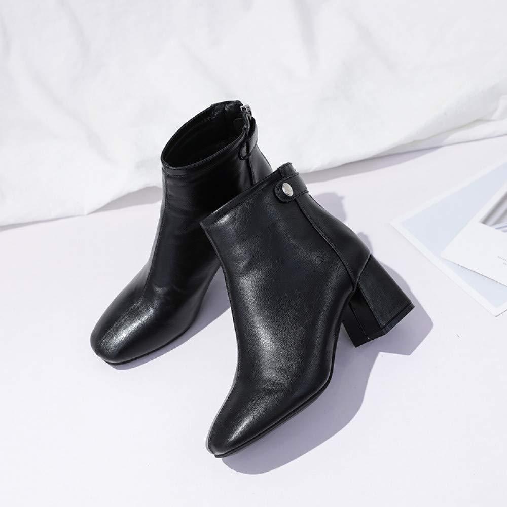 Qingchunhuangtang Martin Stiefel Damenstiefel Frühjahr und Herbst hochhackige Stiefel Wildstiefel mit dicken Stiefeletten