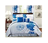 All American Collection New 6 Piece Printed Reversible Bedspread Set with Dust Ruffle (Blue/Grey, King Size)
