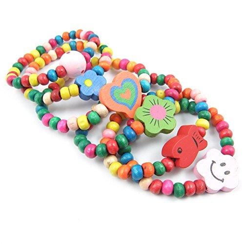 Swovo Kids Jewelry Wooden Bead Bracelet Princess Jewelry Party Favor Cute Stretch Bracelet Jewelry for Kids 12 Set