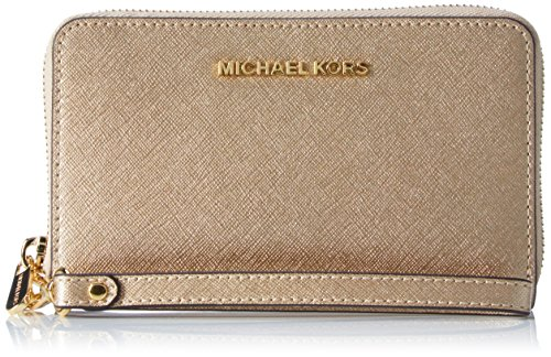 MICHAEL Michael Kors Jet Set Travel Large Metallic Leather Smartphone Wristlet Pale Gold by Michael Kors