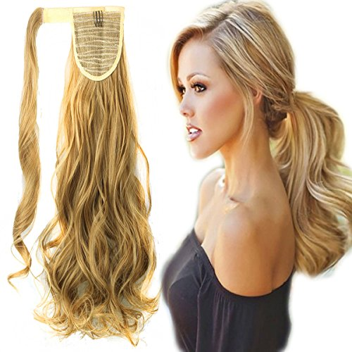 FUT Wrap Around Ponytail One Piece Clip in Curly Pony Tial Hair Extensions 18inch 90g for Girl Lady Women Ginger Blonde