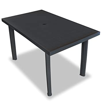 Vidaxl Table De Jardin 126x76x72 Cm Plastique Anthracite Terrasse Patio Balcon