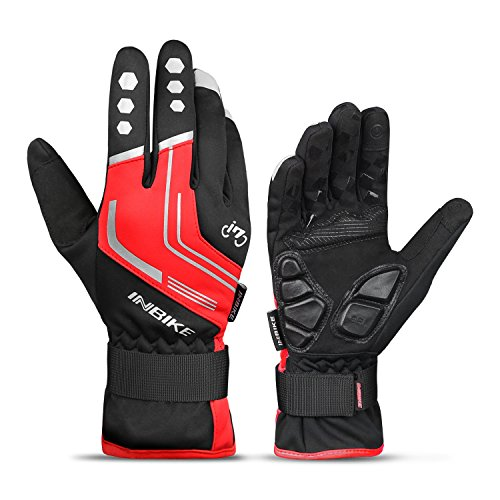 INBIKE Mountain Bike Gloves Cycling Gloves MTB Winter Gloves Silicone Gel Pad Gloves Touch Recognition Full Finger Red Medium