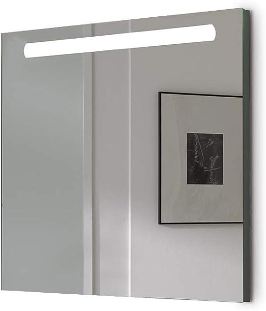 Espejo baño con Luz SHINE 80x70cm 6 W Led 864Lumenes, 6 w 5700kluz brillante, potente y moderna, perfecto para el baño. [Clase de eficiencia energética A++]. IP44. baño iluminado.: Amazon.es: Bricolaje y