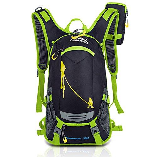 Rmine unisex Cool Fahrradrücksack Trekking Ski Rucksäcke Backpack mit Regenabdeckung 18L (Grün)