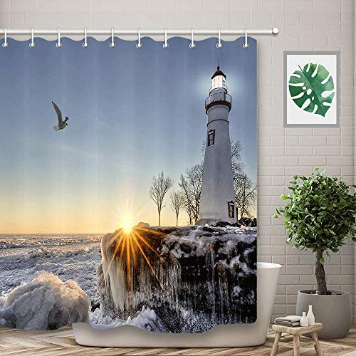(NYMB Lighthouse Bathroom Shower Curtains, Nautical Ocean Waves Rocks Seaside in Sunset, Polyester Bath Curtain, Fabric Shower Curtain Sets with Hooks, 69
