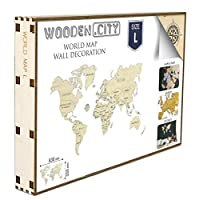 Wooden City Model World Map L by Wooden.City L, Legno, Bianco, 35.5x 24x 40cm, 9unità