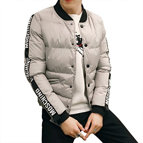 M-LORD (TM) Mens Fashion Winter Feather Coat Thick Korean Style Cotton-padded Jacket Grey US XL