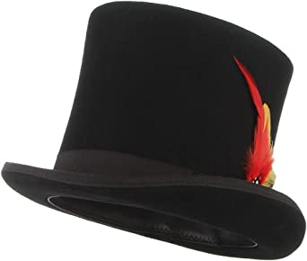 GEMVIE Men Wool Top Hat Party Costume Accessory Feather Black Fedora Hat