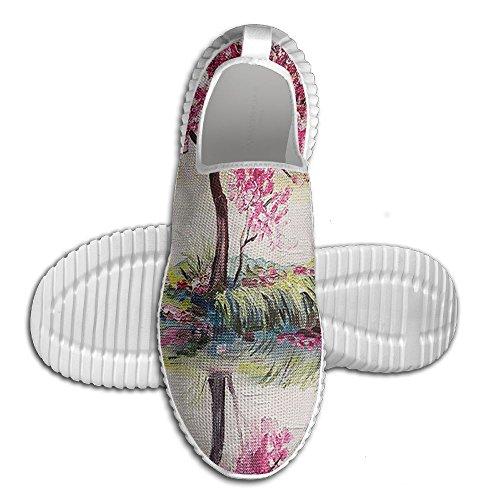 Blooming Japanese Unisex Over 3D On The Mesh All Comfortable Shoes On Cherry Fashion Lake DiamondsJun Tree Sakura Slip Printed qE5WZdqcR