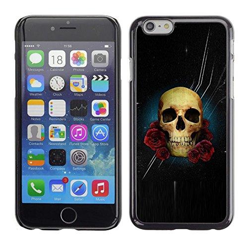 PC/Aluminum Mince Coque Housse Etui Pour Apple Iphone 6 Plus 5.5 Stars Night Black Rose Skull Flowers / JUSTGO PHONE PROTECTOR