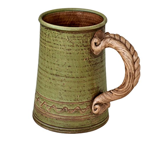 Handmade Ceramic Beer Mug Clay Cup with Handle 25oz Multicolor Natural Earthenware Eco Friendly Tea Coffee Lead Free Pottery Handcrafted Green Semin ()