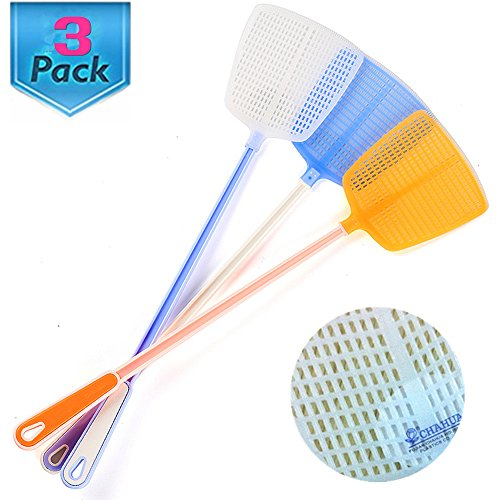 Fly Swatter Manual Swat Pest Control - 18.5''- Long Handle - Premium Extra Thicker –Durable - Multi-Color Pack of 3 by Wafern
