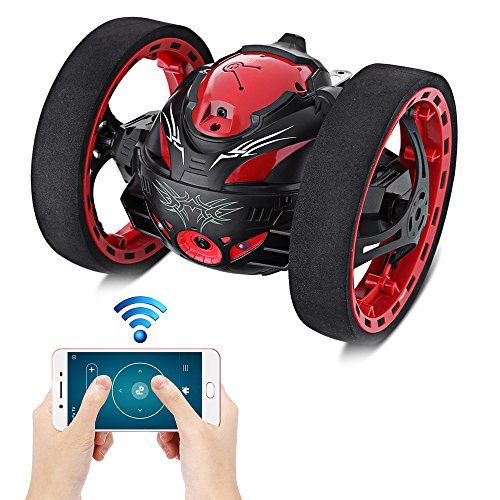 KidsHome 2.4GHz Jumping Car Wireless Remote Control Bounce Car with WiFi Function 80W Camera 360 Degree Rotation Music Playing Function Shockproof Rechargeable RC Car(Black)