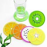 JASSINS Set of 7 Fruit Slice Silicone Coaster
