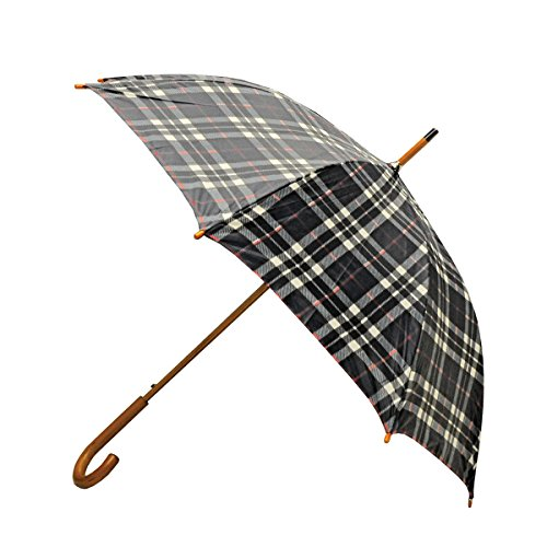- Rainbrella Classic Auto Open Umbrella with Real Wooden Hook Handle, Black Plaid, 46