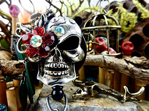 (Skull Badge Holder Halloween ID Reel Sugar Skull Retractable Clip Goth Gothic Rhinestone Skeleton Freaky Creepy Spooky Day of the Dead XRAY Gift for Doctor Bling Crystal Nurse Nursing RN Nurses 141)