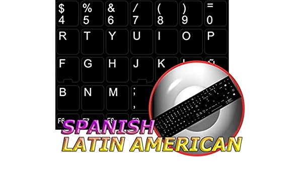 REPLACEMENT SPANISH LATIN AMERICAN KEYBOARD STICKER WITH BLACK BACKGROUND