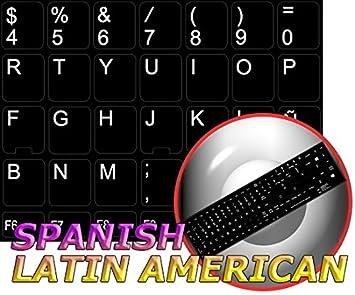 Repuesto español teclado adhesivo negro fondo de América Latina: Amazon.es: Oficina y papelería