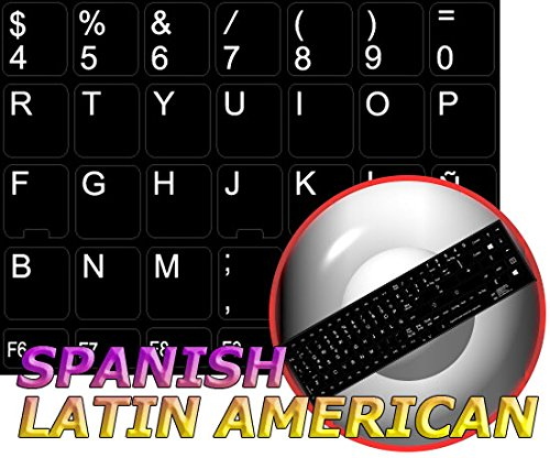 REPLACEMENT SPANISH LATIN AMERICAN KEYBOARD STICKERS BLACK BACKGROUND FOR DESKTOP, LAPTOP AND (Black And Spanish)