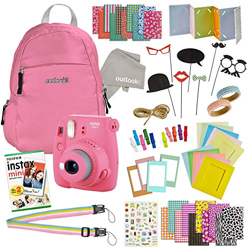 Instax Mini 9 Camera Travel Bundle – 60 Piece Accessory Kit with Shoulder Bag, 20 Sheets of Film, Cleaning Cloth, Strap, Washi Tape, Stickers, Photo Frames + Album – Flamingo Pink – by Outlook 2020