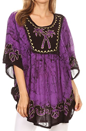 Sakkas 17030 - Lynda Two Tone Batik Embroidered Palm Tree Peasant Top/Poncho - Eggplant - OS