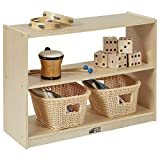 ECR4Kids Birch 2 Shelf Storage Cabinet, Backless Wood Book Shelf Organizer/Toy Storage for Kids, Natural