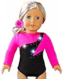 Fits American Girl 18 inch Dolls | Hot Pink Olympic Gymnastics Outfit Leotard and Hair Accessory | (2 Piece Set) Tenney
