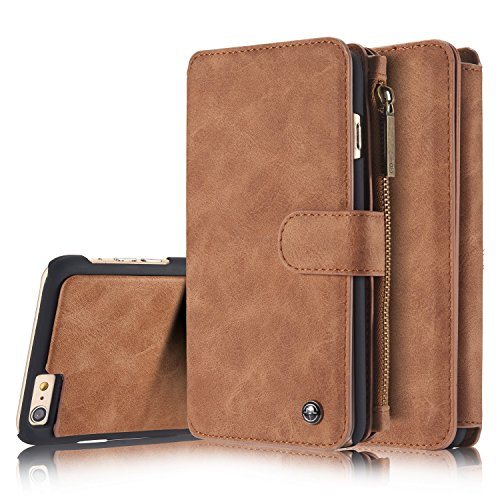 SAVYOU iPhone 6s Plus Wallet Case Folio Magnetic Detachable, 2in1 Luxury Series Premium Vegan Leather Flip Wallet Card Holder with Kickstand Slim PC Back Cover for iPhone 6 Plus/6s Plus Brown